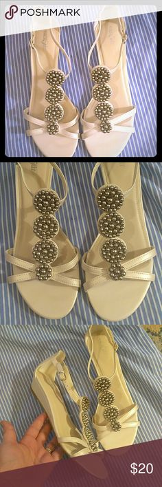 Beaded Sandals Brand New (without box) creamy white and silver beaded short wedged sandals. The detail is gorgeous! Size 8.5M 📿📿 East 5th Shoes Wedges