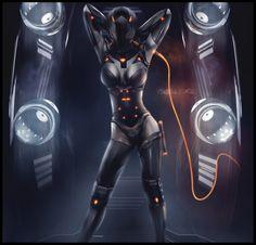 Future, Futuristic, Cyberpunk, Cyber girl, Future girl futuristic clothing, dark, helmet, cyber style, cyberpunk clothing, sexy girl, beautiful girl, Rinzler Dominatrix  by *Patrick2011