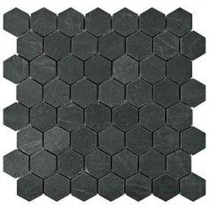 Merola Tile Crag Hexagon Black in. x 10 mm Slate Mosaic Tile, Black/Low Sheen Stone Mosaic Tile, Mosaic Wall, Mosaic Tiles, Wall Tiles, Mosaics, Online Tile Store, Hexagon Tiles, Black Floor, Tile Installation