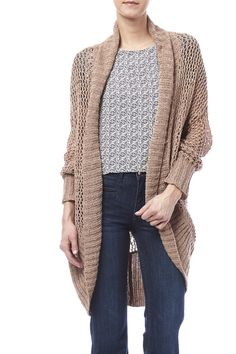 Light knit cocoon style cardigan with an open front and ribbed cuffs and hem.   Summer Long Cardigan by LA Made. Clothing - Sweaters - Cardigans Chicago, Illinois