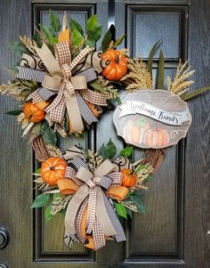 Fall wreath for front door. You will love how this wreath will add so much beauty to your front door. Perfect for the Fall season that's right around the corner. Skeleton Decorations, Halloween Decorations, Outdoor Decorations, Thanksgiving Wreaths, Autumn Wreaths, Wreaths For Front Door, Door Wreaths, Year Round Wreath, Dollar Tree Crafts