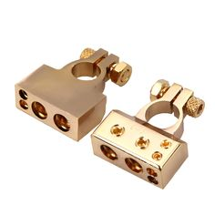 BEST 2PCS HEAVY DUTY Metal Gold Plated Gauge Car Battery Terminal Positive/Nagative F 0/1 2 4 8 AWG Free Shipping E#A