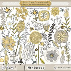 Sale 40% Mod Flower Clip Art - Gray and Yellow Flowers Digital ClipArt - Scrapbook - CardMaking - Print - Instant Download - Commercial Use