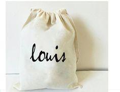 Personalized calico bag drawstring  Gift bag  by BIGOUDIBIGOUDA