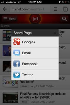 Share Web pages in Chrome for iOS via Facebook, Twitter, and G+. http://cnet.co/MPa36H