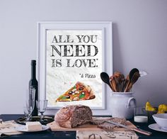 All You Need is Love & Pizza Watercolour Food Kitchen Wall Art Print Pizza One, Love Pizza, Kids Room Wall Art, Kitchen Wall Art, Art Prints Quotes, Wall Art Prints, Watercolor Food, Watercolour, Light Wall Art