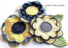 Fresh Picked Flowers (Gina) -- Handmade Fabric and Felt Adornments