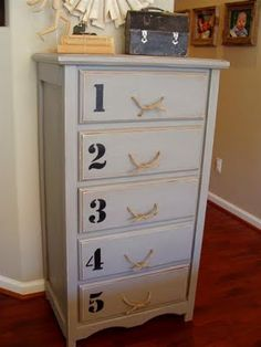 grey distressed numbers dresser with rope pulls Recycled Furniture, Furniture Projects, Painted Furniture, Diy Furniture, Furniture Refinishing, Boy Dresser, Tall Dresser, Boy Room, Kids Room