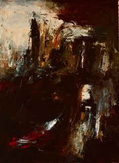 Cliff Oil/Canvas by Pamela Holl Hunt Cliff, Paintings, Oil, Landscape, Abstract, Canvas, Summary, Tela, Scenery