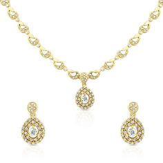 Designer two piece necklace and earrings set with diamond clusters in 18 K yellow gold. All of our designer matching sets are hand made and are available in 9K/14K/18K white, yellow and rose gold, platinum and palladium and can be set with a variety of precious stones. Product No: SET1015