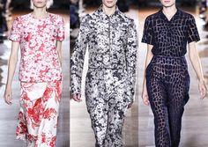 Stella McCartney S/S 2014 Overexposed Florals – Allover Print Layouts – Image Outlines – Crammed Daisies – Distressed Texture – Mono-print Styles – Monochromatic Colour – Crocodile Pattern  Paris Fashion Week   Spring/Summer 2014   Print Highlights Part 3 catwalks