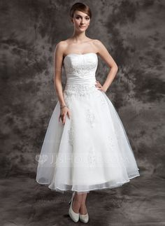 Wedding Dresses - $152.99 - A-Line/Princess Sweetheart Tea-Length Taffeta Organza Wedding Dress With Ruffle Lace Beadwork (002014997) http://jjshouse.com/A-Line-Princess-Sweetheart-Tea-Length-Taffeta-Organza-Wedding-Dress-With-Ruffle-Lace-Beadwork-002014997-g14997