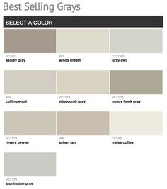 Best selling & popular shades of gray & light neutral paint colors from Benjamin Moore.