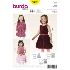 smart and also dressy pieces, sleeveless or with long sleeves, with gathered skirts. all are sewn from two contrast fabrics: the petticoat of dress a and the tiered skirt and tiny puff sleeves of dress b