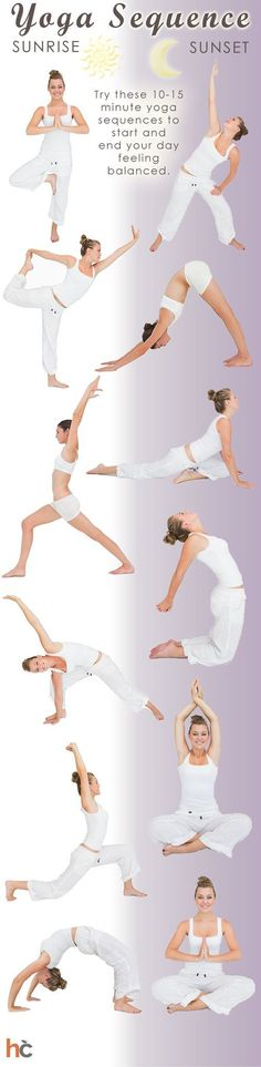 Try these 10-15 minute #yoga sequences to start and end your day feeling balanced. Learn more by reading our #infographic here: http://www.healthcentral.com/diet-exercise/c/458275/168595/sequence-infographic?ap=2012