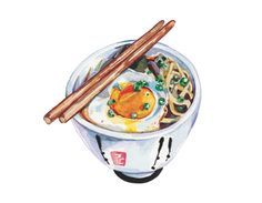 Holly Exley  -  ramen bowl noodles fried egg and spring onion watercolour illustration