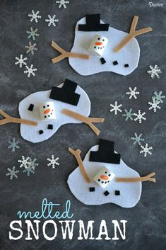 Melted Snowman Craft Project for Kids - Darice Find Easy Christmas Crafts for kids including preschool Christmas crafts.They will love these holiday crafts for Christmas craft ideas for children. Kids Crafts, Holiday Crafts For Kids, Craft Projects For Kids, Craft Ideas, Art Projects For Adults, Toddler Art Projects, Kids Winter Crafts, Diy Projects, Winter Crafts For Preschoolers