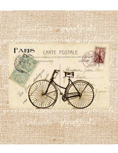 Paris digital download Carte Postale bicycle French ephemera two in one for transfer to fabric paper burlap pillows tote bags No. D11