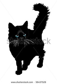 black cat silhouette   Black cat a silhouette with colour eyes on a white background vector ...