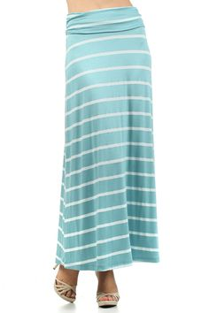 Mint & White Stripe Maxi Skirt-mint and white striped maxi skirt, mint maxi skirt