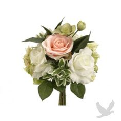 """11.5"""" Rose and Hydrangea Bouquet in Peach and Green"""