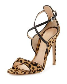 Animal-Print Calf Hair Sandal, Leopard/Black by Gianvito Rossi at Neiman Marcus.