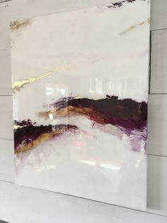 Resin,purple,white, gold leaf marble painting shine glass like modern art abstract  https://www.etsy.com/ca/listing/565516985/shiny-purple-marble-statement-art-resin