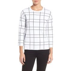 Halogen Windowpane Pattern Sweater (Petite)