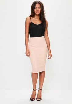 Missguided - Pink Faux Suede Midi Skirt