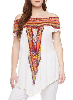 31e674dc7dd Plus Size Smocked Off Shoulder Dashiki Print Top