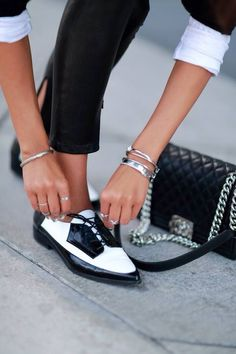 Black And White Boyish Retro Inspired Pointy Flats by They All Hate Us