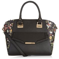 Black Floral Print Panel Structured Bag ($37) ❤ liked on Polyvore featuring bags, handbags, pocket purse, structured bag, floral print purse, black bag and flower print purse