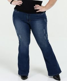 1b7816bc4 Calça Feminina Jeans Flare Puídos Plus Size Razon
