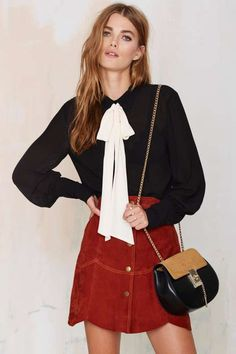 Nasty Gal Mademoiselle Pussy Bow Blouse - Black - Clothes