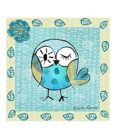 Look what I found on #zulily! Blue & Beige Owl Canvas Art #zulilyfinds