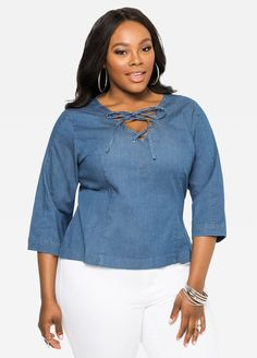 f9008a19854 Cropped Lace-Up Denim Shirt Cropped Lace-Up Denim Shirt Bbg, Denim Shirt.  ashleystewart.com