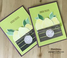 DIY Stampin Up Lemon Zest and Wood Words Bundle make a great card for Fresh Treats from a Farmers Market.
