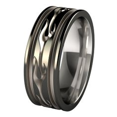 Voodoo Abyss Black Diamond Plated Titanium Wedding Ring