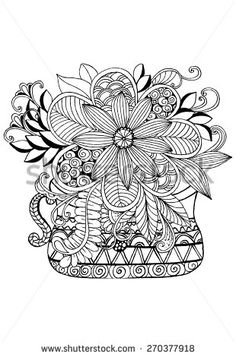 Doodle flowers and a vase. Floral pattern in black and white colors.
