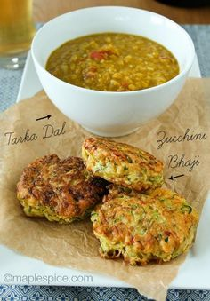 Courgette Bhaji and Tarka Dal // courgette, coconut oil, mild curry powder, red chili, garlic, onion, cornflour, xanthan gum, baking powder, turmeric, plain non-dairy, gram flour / chickpea flour, dry red split lentils, cumin seeds, tomatoes, garam masala, vegan butter
