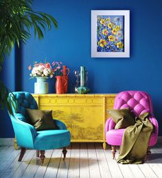 Colourful Living Room, Living Room Colors, Bedroom Colors, Living Room Decor, Colorful Rooms, Bright Paint Colors, Bright Walls, Bright Decor, Colorful Interior Design