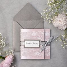 Dark Grey and Pink Lace Wedding Invitation, Pocket Fold Wedding Invitations , Pink Wedding invitation