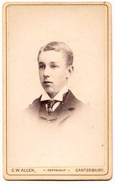 Carte de visite of an older boy by C W Allen, Canterbury.