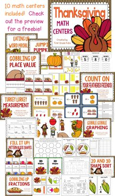 Before the holiday comes, help your students grow and stretch their math skills with these 10 Thanksgiving themed math centers. They are Common Core aligned and cover many necessary skills.  Check out the preview for a freebie! $
