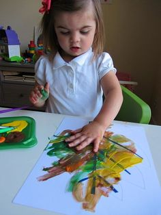finger painted fall leaves