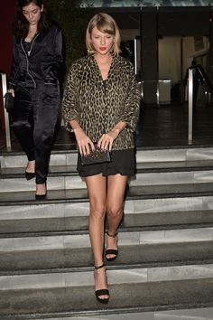 Taylor Swift is one of women people who look ladylike in anything they wear. Case in point: Her ensemble on Friday night. The singer joined Lorde for dinner in L.A. wearing a flouncy black dress with a bold leopard jacket and sky-high platforms and still looked every bit as polished and feminine as ever.