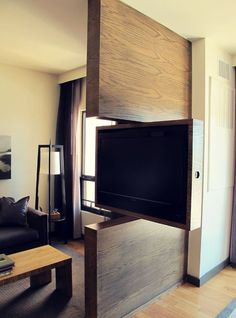 TV Swivel Concepts – Very Practical And Perfect For Modern Homes – Stylish Decor Tv Stand Room Divider, Living Room Divider, Tv Wall Design, House Design, Tv Stand Designs, Living Room Tv Unit Designs, Room Partition Designs, Tv Furniture, Home Decor Kitchen
