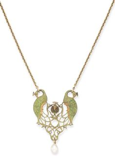 "AN ART NOUVEAU ENAMEL AND PEARL PENDANT, BY RENE FOY Depicting three green enamelled, sculpted peacocks, two in profile with interlacing feathers forming lattice, the tail feather ""eyes"" enhanced by translucent enamel, suspending a drop-shaped cultured pearl, measuring 9.40 x 13.60 mm, mounted in gold, circa 1900"