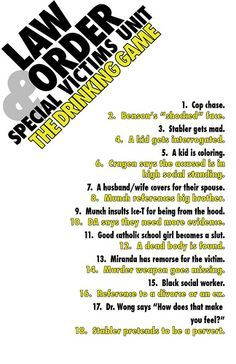 Law:SVU drinking game by grogach, via Flickr