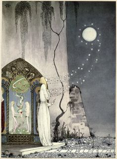 "'She could not help setting the door a little ajar, just to peep in, when—Pop! out flew the Moon.'     Kay Nielsen, 1914, illustration for ""East of the Sun and West of the Moon: Old Tales from the North"" (Sweden)"